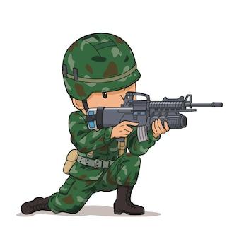 Personaje de dibujos animados de soldado apuntando con un arma