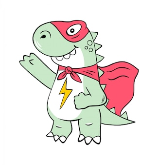 Personaje de dibujos animados de superhéroe del super dinosaurio t-rex en máscara.