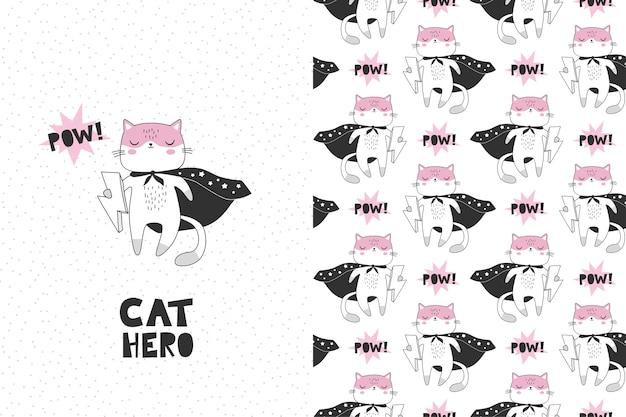 Personaje de dibujos animados de superhéroes de gato. tarjeta y patrón sin costuras