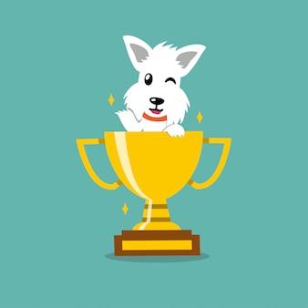 Personaje de dibujos animados terrier escocés blanco perro con premio trofeo de la copa de oro