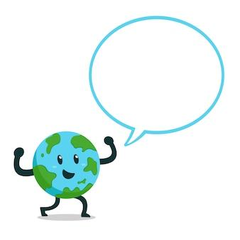 Personaje de dibujos animados de la tierra con la burbuja del discurso