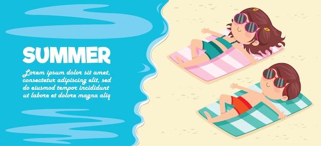 Personaje de dibujos animados tomando el sol en la playa