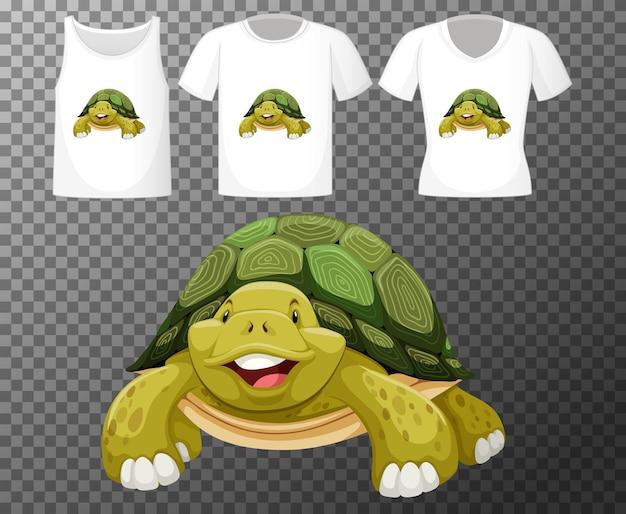 Personaje de dibujos animados de tortuga con muchos tipos de camisas sobre fondo transparente