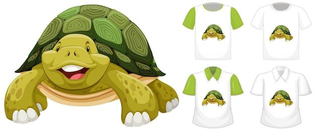 Personaje de dibujos animados de tortuga con muchos tipos de camisetas.