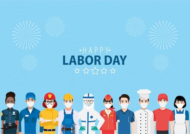 Personaje de dibujos animados con trabajador profesional en feliz festival del día del trabajo