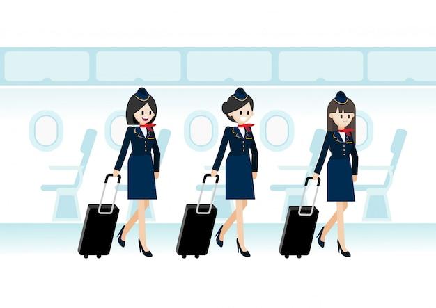 Personaje de dibujos animados con tres azafatas hermosas que sostienen la bolsa de viaje en el avión y el vuelo del asiento