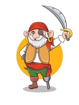 Personaje de dibujos animados de tripulación de barco pirata