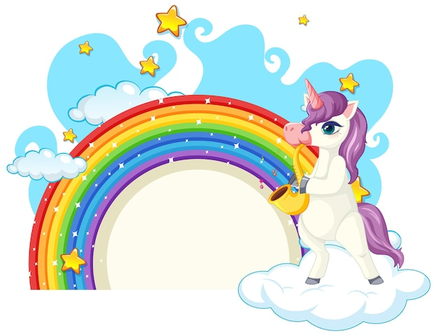 Personaje de dibujos animados de unicornio con arco iris aislado en blanco