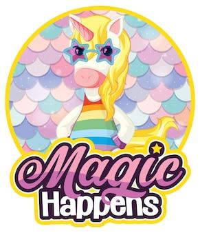 Personaje de dibujos animados de unicornio con banner de fuente miracles happen