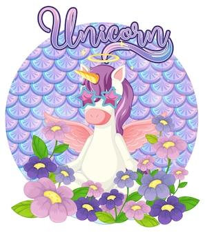 Personaje de dibujos animados de unicornio en escalas pastel