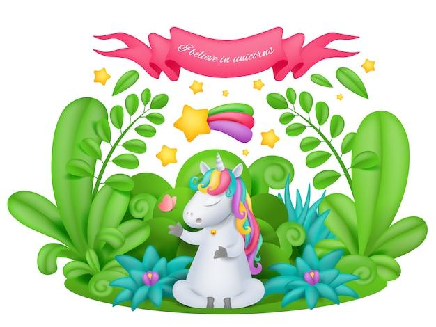 Personaje de dibujos animados de unicornio en el jardín mágico