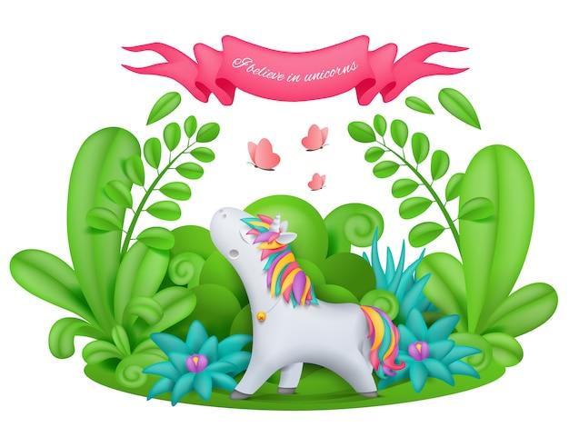 Personaje de dibujos animados de unicornio de pie en el jardín mágico