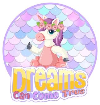 Personaje de dibujos animados de unicornio sobre fondo de escalas pastel aislado