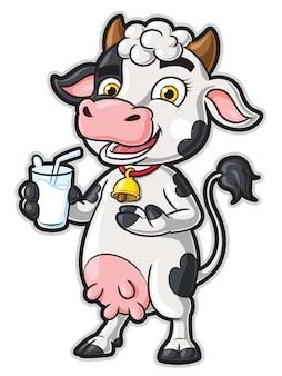 Personaje de dibujos animados de vaca con un vaso de leche