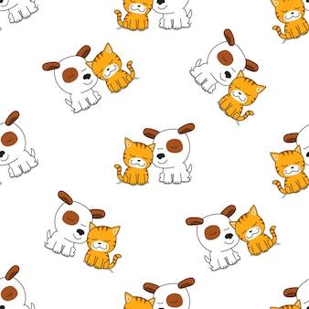 Personaje de dibujos animados de vector lindo gato y perro de patrones sin fisuras