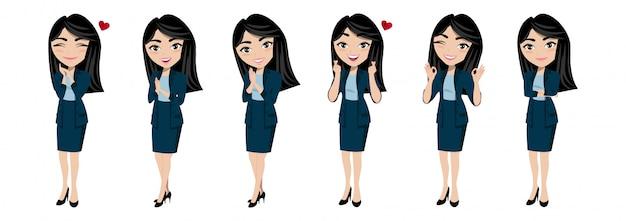 Personaje de dibujos animados con el vector de la señora joven