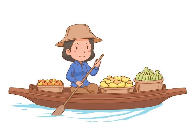 Personaje de dibujos animados del vendedor del mercado flotante remando en el bote.