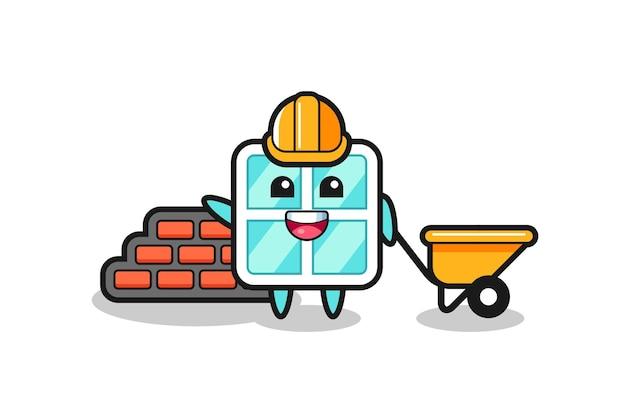 Personaje de dibujos animados de ventana como constructor, diseño de estilo lindo para camiseta, pegatina, elemento de logotipo
