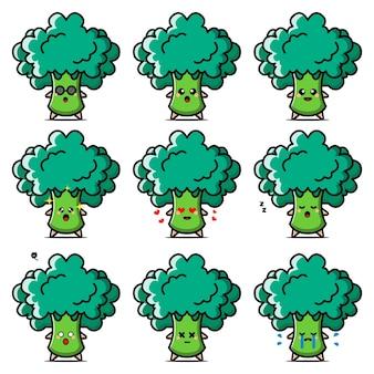 Personaje de dibujos animados de verduras de brócoli.