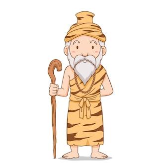Personaje de dibujos animados del viejo ermitaño con personal.