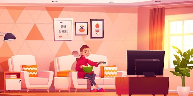 Personaje de dibujos animados viendo la televisión