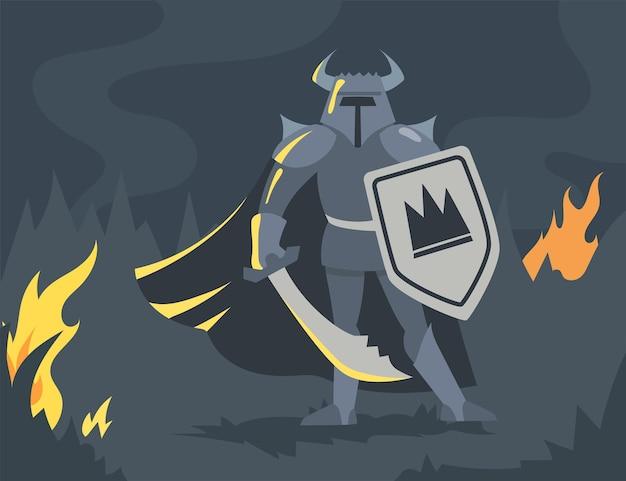 Personaje de dibujos animados vikingo masculino en armadura con espada y escudo. ilustración plana.
