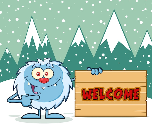 Personaje de dibujos animados de yeti apuntando a un cartel de bienvenida