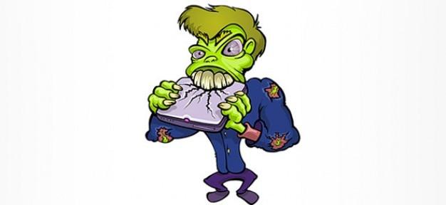Personaje de dibujos animados zombie destruyendo un ordenador portátil