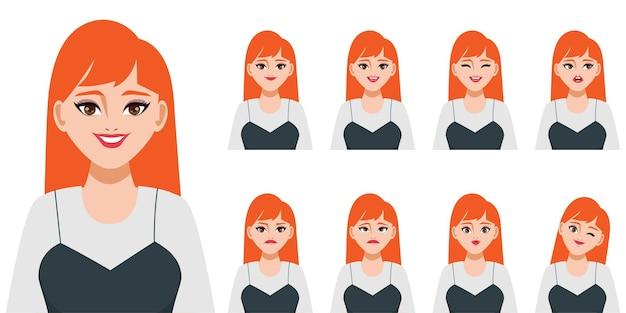 Personaje con diferentes expresiones.