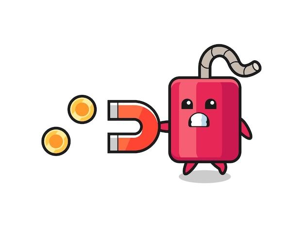 El personaje de dinamita sostiene un imán para atrapar las monedas de oro, diseño de estilo lindo para camiseta, pegatina, elemento de logotipo