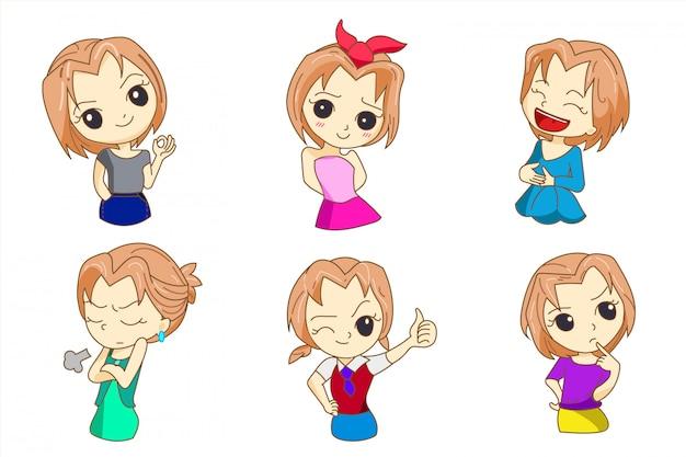 Personaje de diseño de mujer de estilo anime
