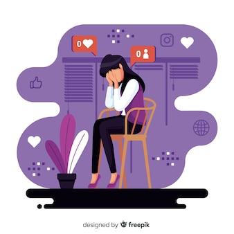Personaje de diseño plano que sufre influencia de las redes sociales