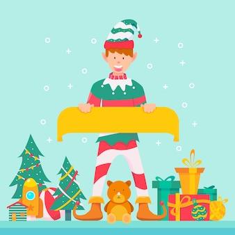 Personaje de duende de navidad sosteniendo pancarta en blanco