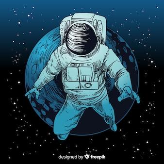 Personaje elegante de astronauta dibujado a mano