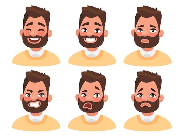 Personaje de emoji de hombre barbudo con diferentes expresiones.
