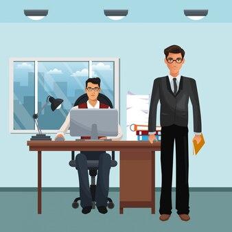 Personaje empresarial en el escenario de la oficina.