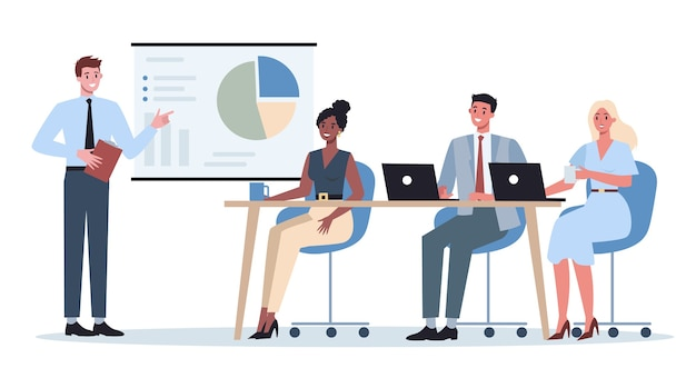 Personaje empresarial haciendo presentación frente a un grupo de compañeros de trabajo. presentación de plan de negocios en seminario. apuntando al gráfico.