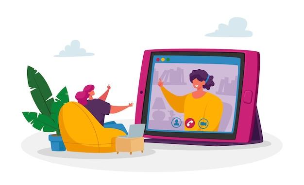 Personaje empresarial minúscula empleada hablar en videollamada con un amigo o colega remoto