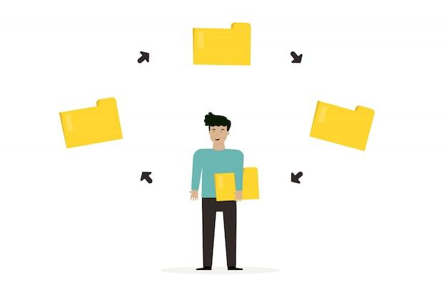 Personaje de empresario de dibujos animados hombre con documento de archivo y carpeta