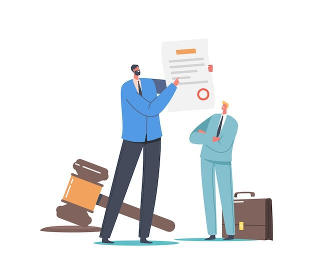 Personaje de empresario presentando papel con pautas de control de la sociedad y estrategia para orden de la empresa y reglas de restricción lista de verificación de regulaciones, información legal. ilustración de vector de gente de dibujos animados
