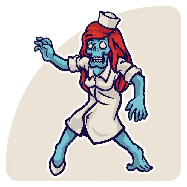Personaje de la enfermera zombie de halloween con su uniforme