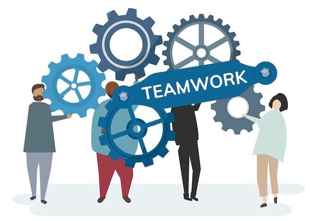 Personaje con engranajes de cremallera que retrata el concepto de trabajo en equipo
