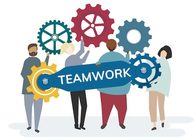 Personaje con engranajes de rueda dentada que retratan el concepto de trabajo en equipo