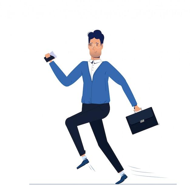 El personaje es un hombre corriendo al trabajo. mañana de negocios ir con café
