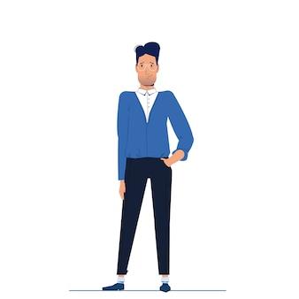 El personaje es un hombre de negocios de pie y mira hacia adelante.