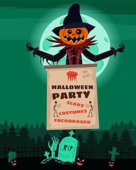 Personaje de espantapájaros en el cementerio con una calabaza de cabeza de jack o lantern en abrigo rasgado con cartel de feliz halloween