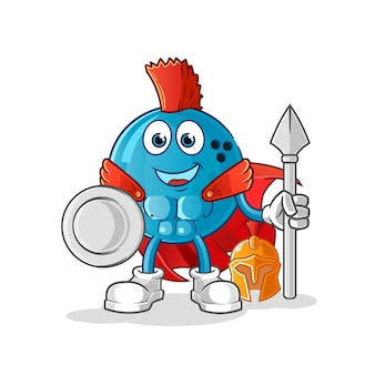 Personaje espartano de bola de bolos. mascota de dibujos animados