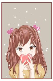 Personaje de estilo anime chica de cabello castaño con amor y fondo de estrellas