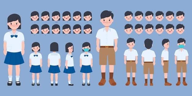 Personaje para estudiante de boca y cara de animación en uniforme de bangkok tailandia.