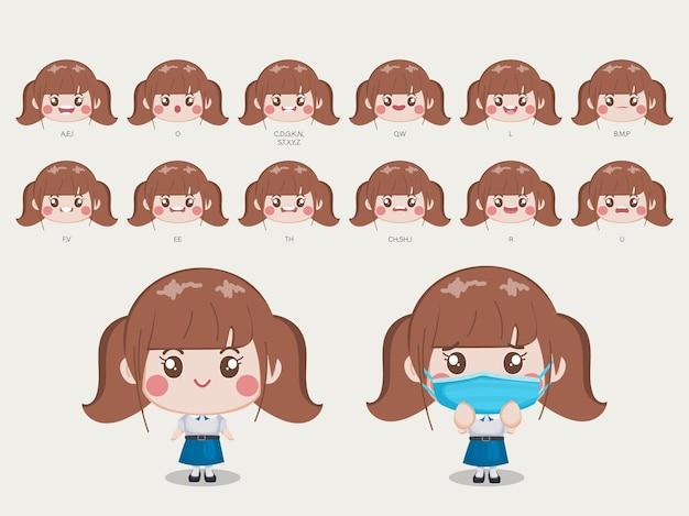Personaje para estudiante de boca y cara de animación en uniforme de bangkok tailandia